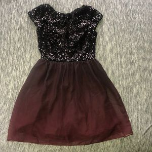 Maroon sequined cocktail dress